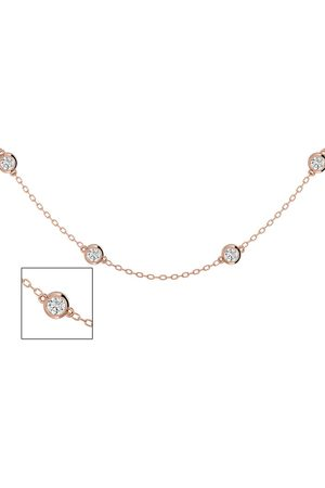 SuperJeweler 14K Rose (6.30 g) 2 Carat Diamonds By The Yard Necklace, 16-18 Inches (H-I, SI2-I1)