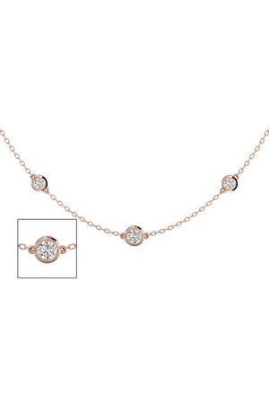 SuperJeweler Women Necklaces - 14K Rose (5.70 g) 2 Carat Graduated Diamonds By The Yard Necklace, 16-18 Inches (H-I, SI2-I1)