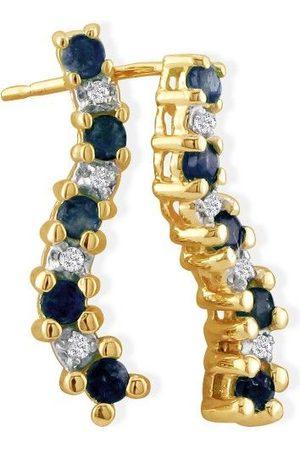 SuperJeweler 1/2 Carat Sapphire Journey Diamond Earrings in 10k , K/L