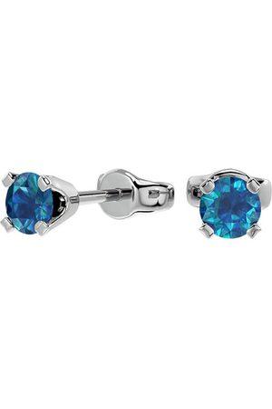 SuperJeweler 1/3 Carat Blue Diamond Stud Earrings in 14k Filled