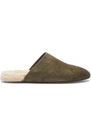 Inabo Slider Suede And Shearling Slippers - Mens - Khaki