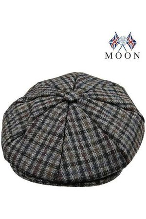 Dents Slate Dogtooth Check Abraham Moon 8-Piece Tweed Cap