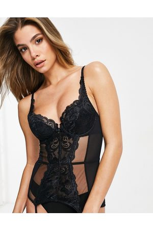Gossard Lace basque with sheer panelling in