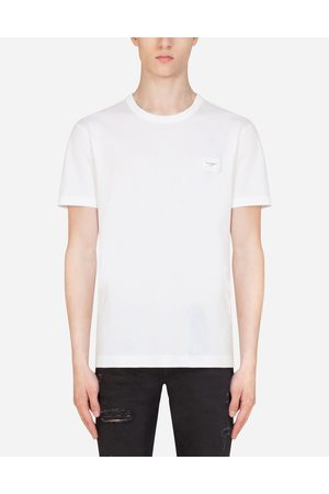 Dolce & Gabbana T-Shirts and Polos - COTTON T-SHIRT WITH LOGOED PLAQUE male 44