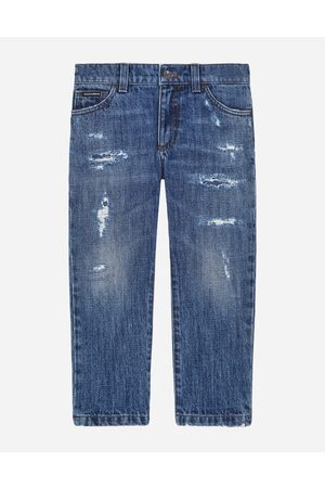 Dolce & Gabbana Trousers and Shorts - PETROL REGULAR-FIT STRETCH JEANS WITH ABRASIONS male 2