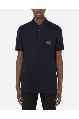 Dolce & Gabbana T-Shirts and Polos - COTTON PIQUÉ POLO SHIRT WITH BRANDED PLATE male 44