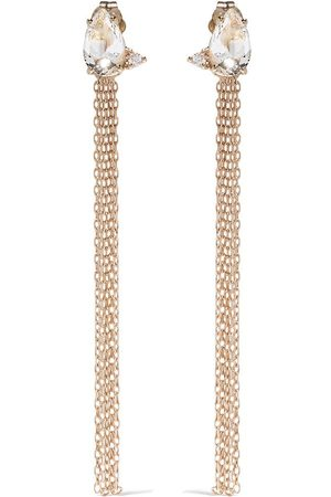 Mizuki Women Earrings - 14kt yellow Sea of Beauty diamond and white topaz chain earrings