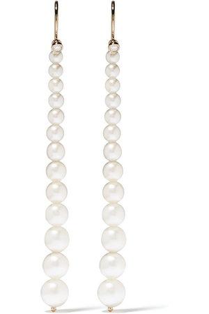 Mizuki Women Earrings - 14kt yellow Sea of Beauty Akoya pearl and diamond small drop earrings