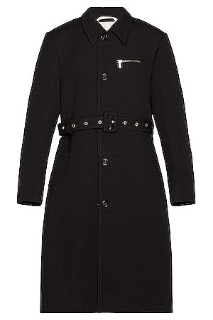 RAF SIMONS Slim Fit Trench Coat With Zipped Pockets in Dark Navy
