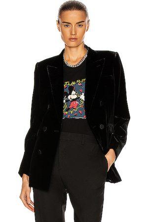 Saint Laurent Velvet Double Breasted Jacket in Noir