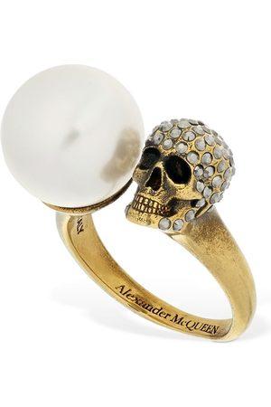 Alexander McQueen Crystal Pearl Skull Ring