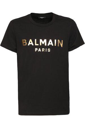 Balmain Logo Gold Foil Cotton Jersey T-shirt