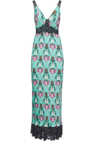 Paco rabanne Printed Crepe De Chine Long Dress W/lace