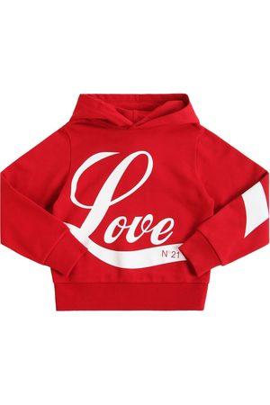 Nº21 Love Print Cotton Sweatshirt Hoodie