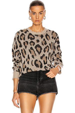 R13 Leopard Cashmere Crewneck Sweater in Leopard.