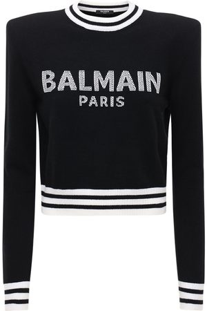 Balmain Cropped Wool Blend Knit Logo Sweater