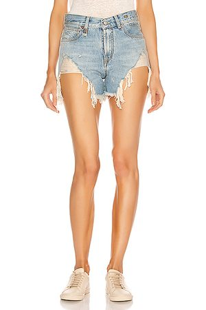 R13 Shredded Slouch Shorts in Tilly