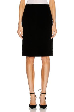 Saint Laurent Velvet Long Skirt in Noir