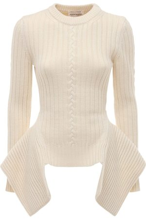 Alexander McQueen Wool Blend Knit Sweater W/ Peplum