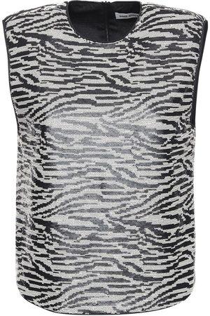 Self-Portrait Sleeveless Zebra Sequin Top