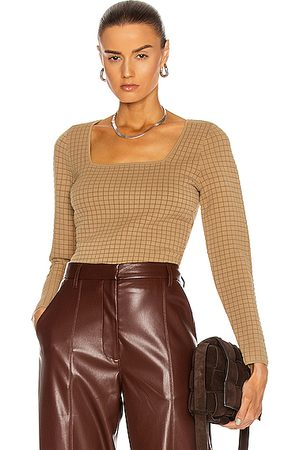 PROENZA SCHOULER WHITE LABEL Quilted Square Neck Long Sleeve Top in Cider