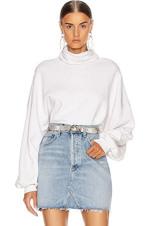 AGOLDE Balloon Sleeve Turtleneck Sweatshirt in Plaster