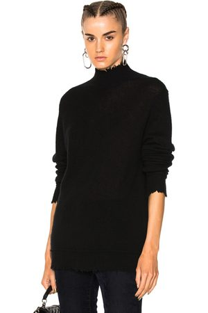 R13 Distressed Edge Cashmere Turtleneck Sweater in