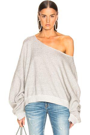 R13 Off Shoulder Patti Sweatshirt in Heather
