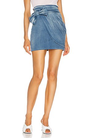 Redemption Drape and Bow Mini Skirt in Shaded