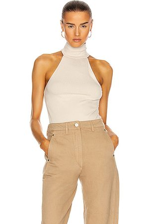 THE RANGE Sleeveless Turtleneck Tank in Limestone