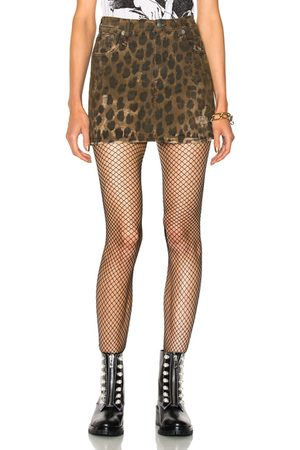 R13 High Rise Mini Skirt in Leopard