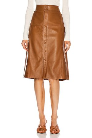 Saint Laurent High Waisted Skirt in Marron Glace