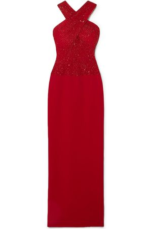 Naeem Khan Women Evening Dresses - Woman Cutout Embellished Tulle And Crepe Gown Size 10