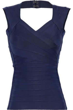 Hervé Léger Women Tank Tops - Hervé Léger Woman Cutout Bandage Top Midnight Size XS
