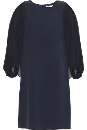 Halston Heritage Woman Georgette-paneled Crepe Mini Dress Navy Size 0