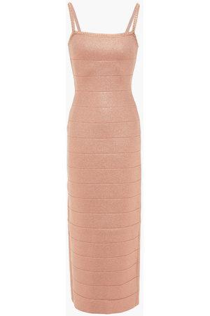 Hervé Léger Hervé Léger Woman Crystal-embellished Bandage Midi Dress Rose Size L