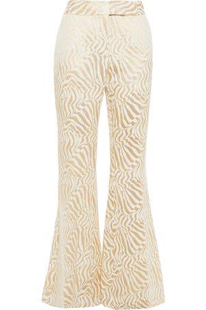 Rachel Zoe Woman Metallic Cotton-blend Jacquard Flared Pants Ecru Size 10