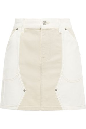 Current/Elliott Woman Agatha Paneled Two-tone Denim Mini Skirt Size 25