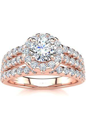 SuperJeweler 1.5 Carat Round Halo Diamond Engagement Ring in 14K Rose (5.50 g) (I-J, I1-I2 Clarity Enhanced), Size 4.5