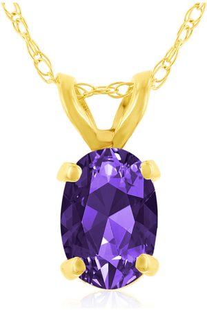 SuperJeweler .40 Carat Oval Shaped Amethyst Pendant Necklace in 14k (0.7 g), 18 Inches