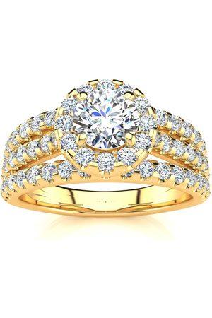 SuperJeweler 1.5 Carat Round Halo Diamond Engagement Ring in 14K (5.50 g) (I-J, I1-I2 Clarity Enhanced), Size 4.5
