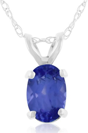 SuperJeweler .40 Carat Oval Shaped Tanzanite Pendant Necklace in 14k (0.7 g), 18 Inches