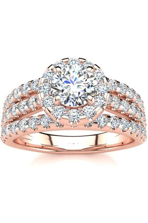 SuperJeweler 1.5 Carat Round Halo Diamond Engagement Ring in 14K Rose (5.50 g) (H-I, SI2-I1), Size 4.5