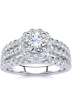 SuperJeweler 1.5 Carat Round Halo Diamond Engagement Ring in 14K (5.50 g) (H-I, SI2-I1), Size 4.5