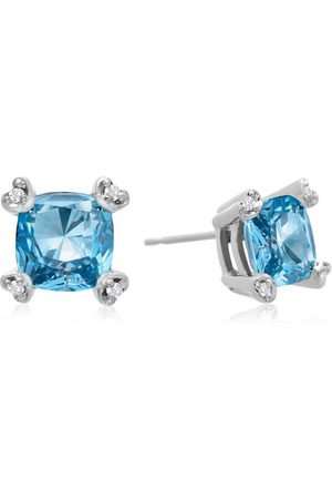 SuperJeweler 2 Carat Cushion Cut Blue Topaz & Diamond Earrings in 10k (1.6 g), I/J
