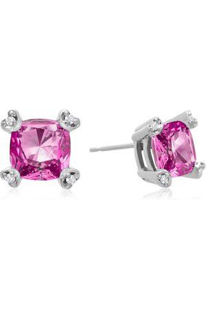 SuperJeweler 2 Carat Cushion Cut Pink Topaz & Diamond Earrings in 10K (1.6 g), I/J