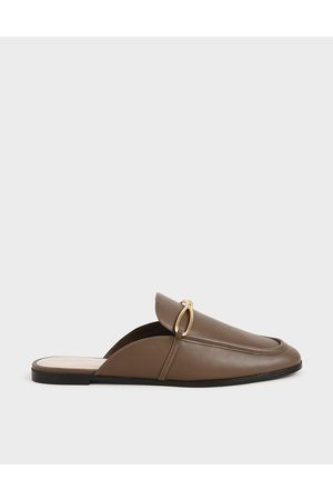CHARLES & KEITH Women Sandals - Metallic Accent Loafer Mules
