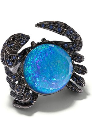 Stephen Webster Women Rings - Black rhodium 18kt white gold No Regrets Jewels Verne Crystal Haze crab diamond, sapphire and quartz ring