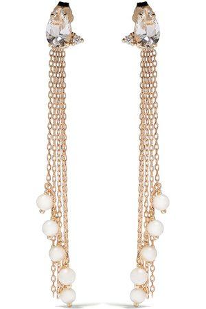 Mizuki 14kt yellow Sea of Beauty Akoya pearls, diamond and white topaz chain earrings