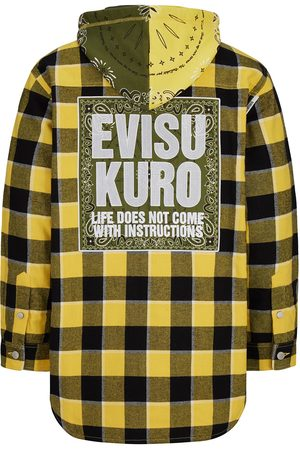 Evisu Detachable Bandana Hood Padded Flannel Shirt Jacket